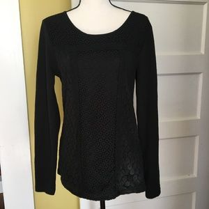 Lucky Brand Black Lace Overlay Thermal Tee Top L